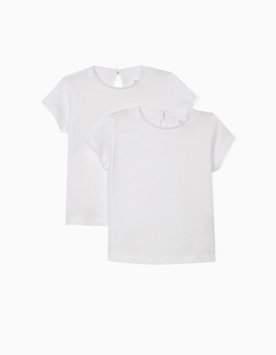 2 T-shirts for Baby Girls, White