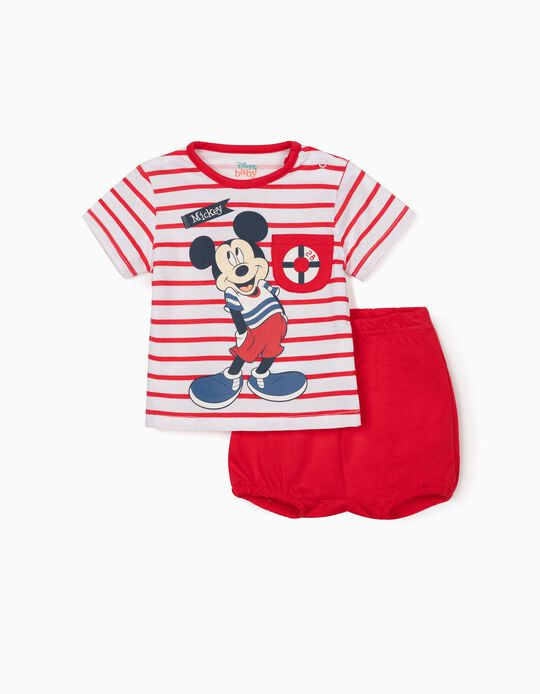 T-shirt & Shorts for Newborn Baby Boys, 'Mickey Mouse', White/Red