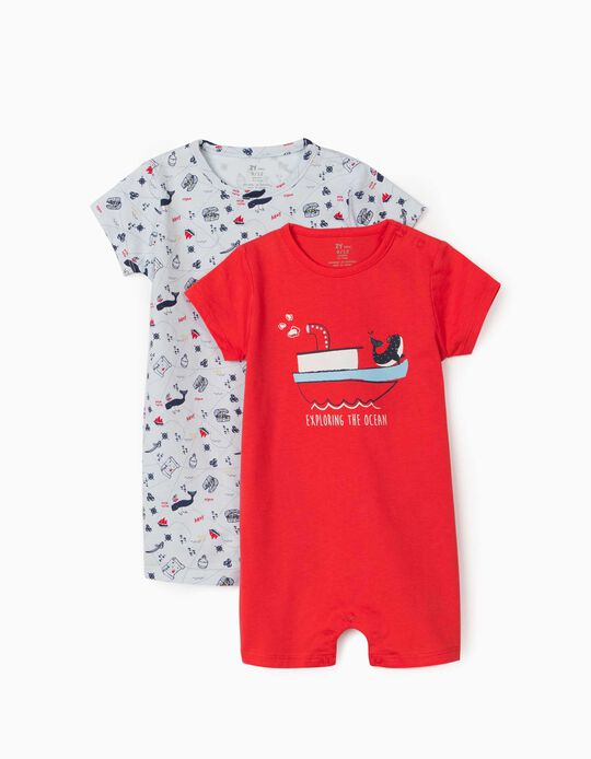 2 Short Sleeve Sleepsuits for Baby Boys, 'Ocean', Red/Light Blue