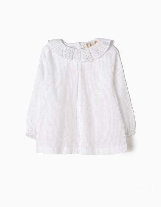 Striped Blouse for Baby Girls, White