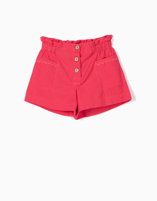 SHORTS LINEN WITH PO, PINK16, 18/24M