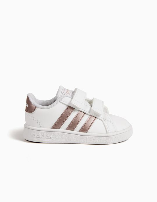 Trainers for Babies 'Adidas Grand Court', White/Rose Gold