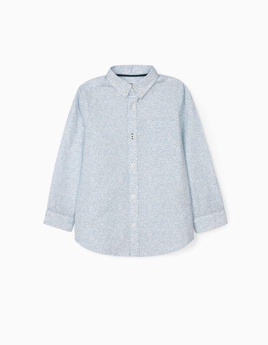 Chemise à fleurs garçon, bleu clair