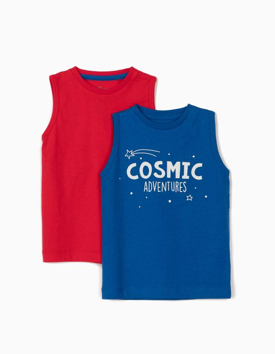2 Sleeveless T-Shirts for Baby Boys, Blue/Red