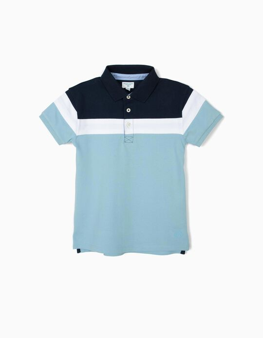 Polo Shirt for Boys 'B&S' with Colour-Block, Blue