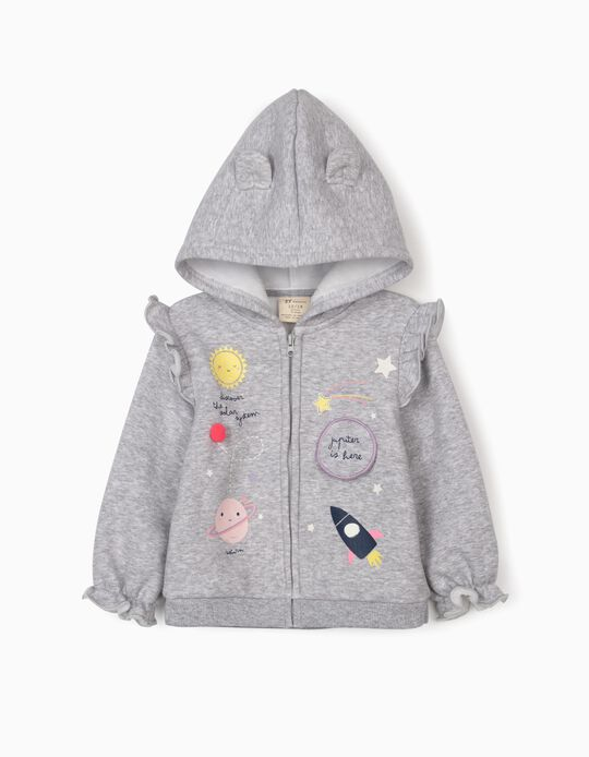 Hooded Jacket for Baby Girls 'Solar System', Grey
