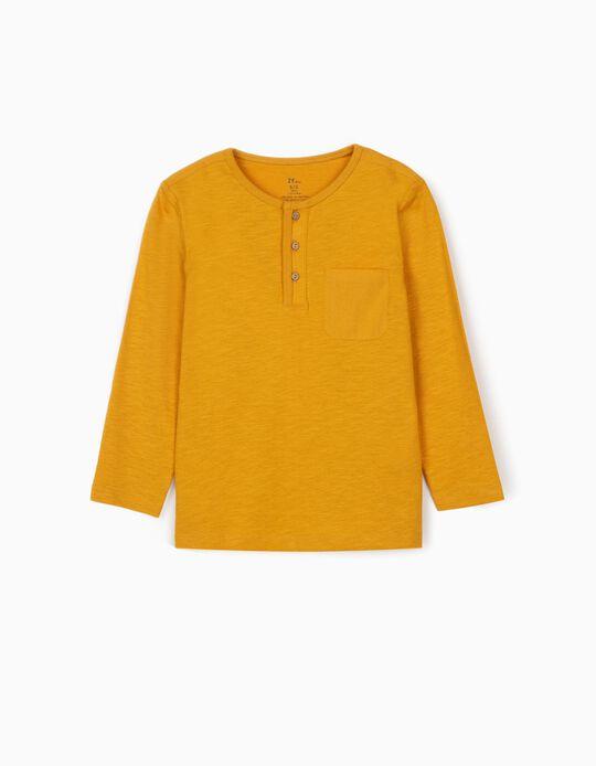 Camiseta de Manga Larga con Botones para Niño, Amarillo Oscura