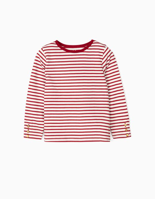 Camiseta de Manga Larga para Niña 'Stripes', Rojo/Blanco