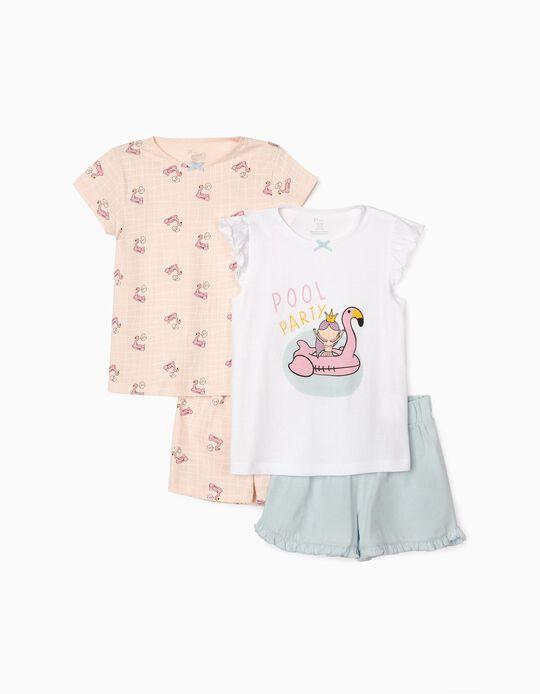 2 Pijamas Manga Corta para Niña 'Pool Party', Rosa/Blanco/Azul