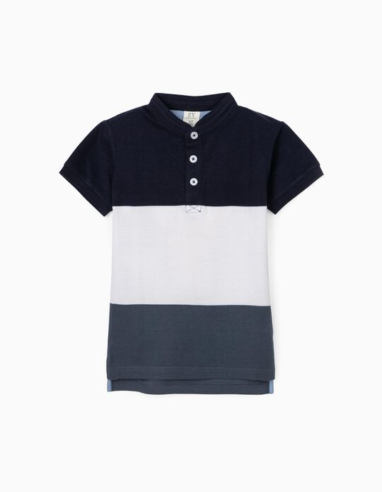 Striped Polo Shirt with Mao Collar, Blue/White