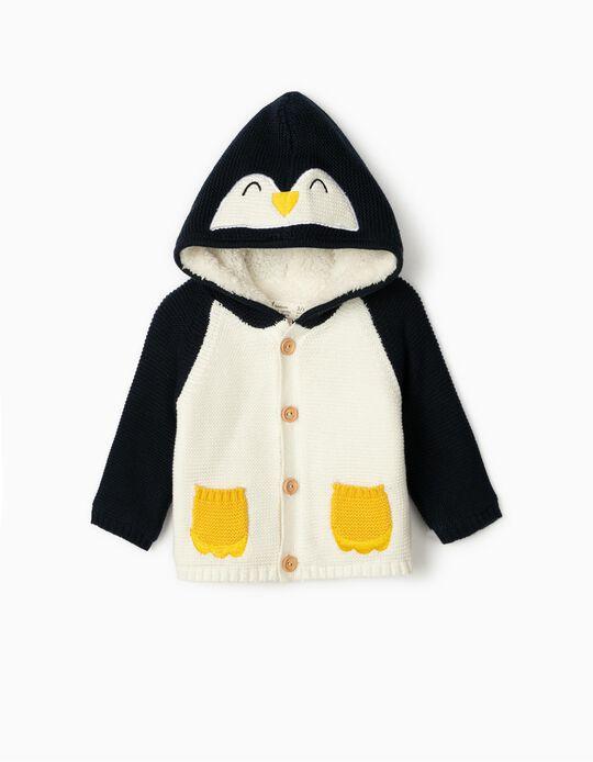 Cardigan for Newborn Babies, 'Cute Penguin', White/Blue