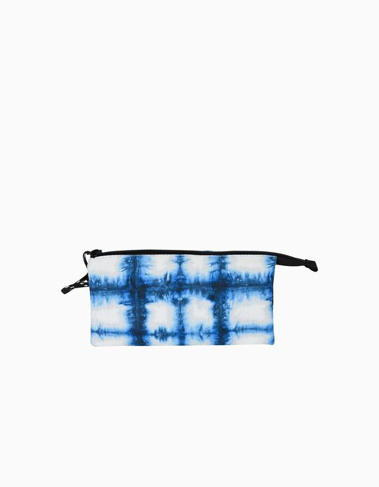 Rectangular Pencil Case for Kids 'Ambar Cycle Blue Energy', Blue/White