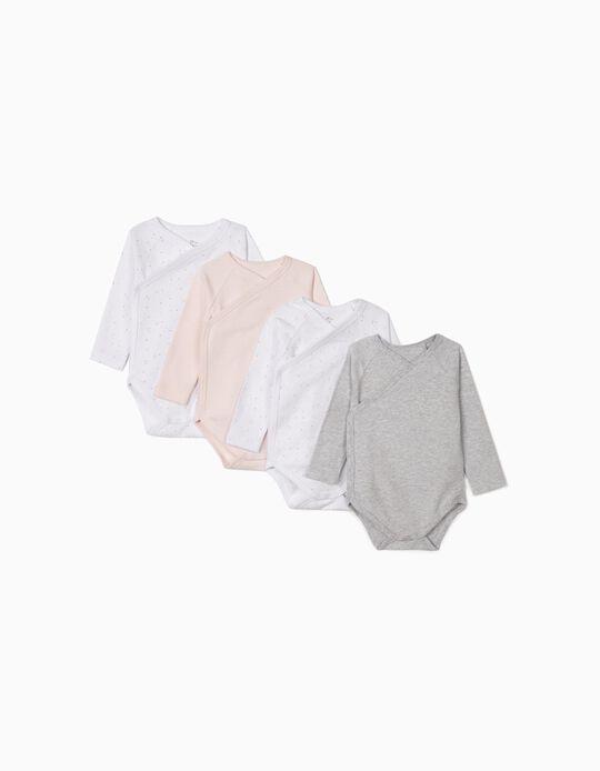 4 Bodysuits for Newborn Baby Girls, 'Stars', Grey/White/Pink