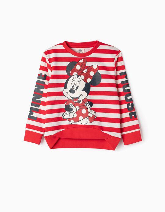 Sweatshirt para Menina 'Minnie & Riscas', Vermelho e Branco