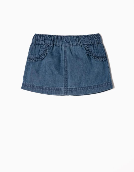 Denim Skirt with Nappy Cover for Newborn Girls, Blue