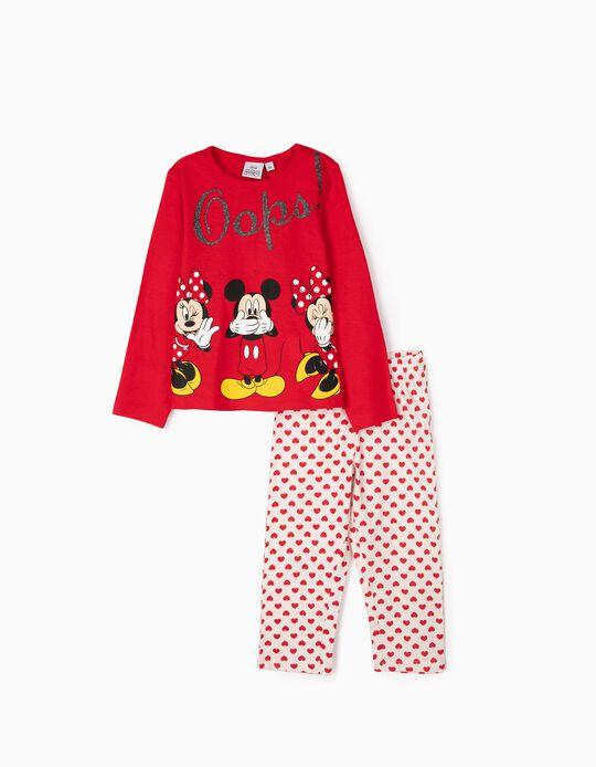 Pijama para Menina 'Minnie & Mickey Oops!', Vermelho/Branco