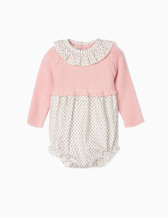 Combinaison bimatière bébé fille, rose/blanc