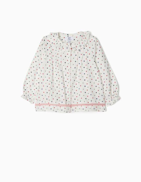 Blusa para Bebé Niña 'Flores', Blanco