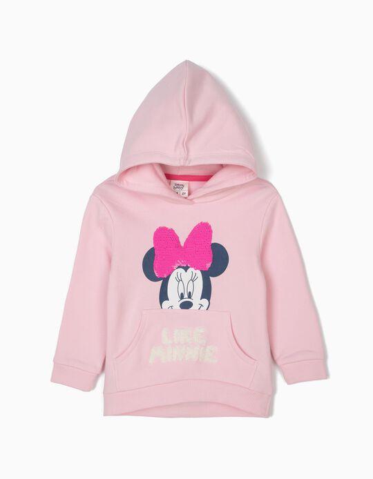 Sweatshirt para Bebé Menina 'Minnie' com Lantejoulas Reversíveis, Rosa