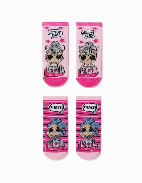 2 paires de chaussettes antidérapantes fille 'LOL Surprise', rose
