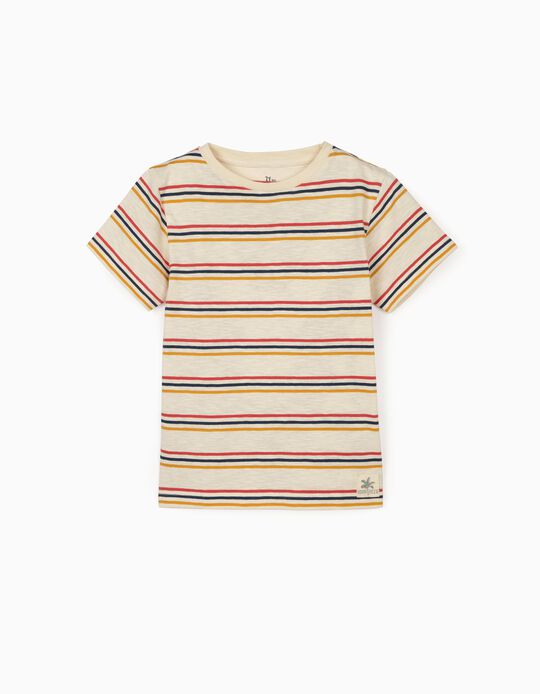 Striped T-shirt for Boys, Beige