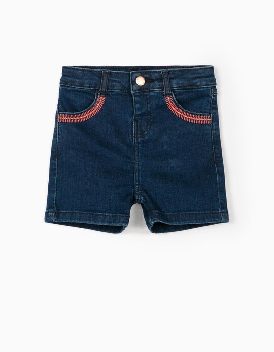 Embroidered Denim Shorts for Baby Girls, Dark Blue