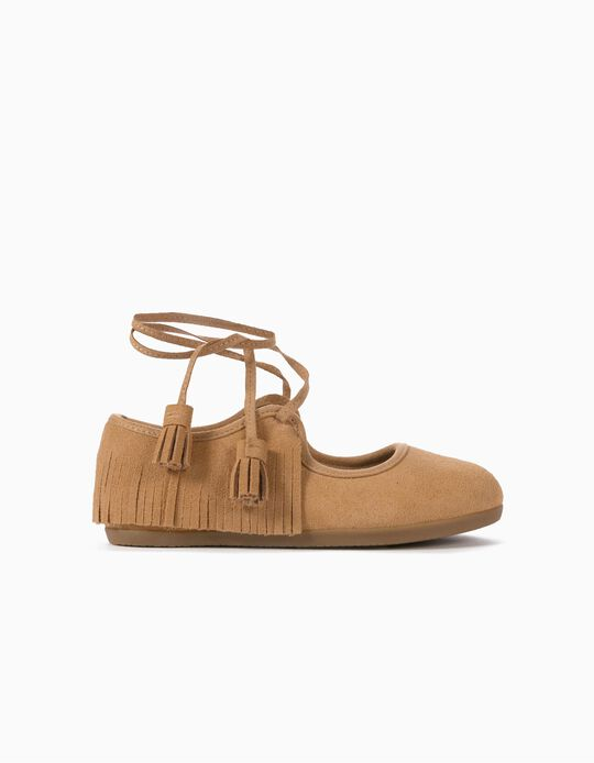 Suedette Ballet Pumps for Girls 'ZY Ballerina', Camel