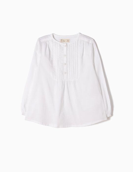 Blusa Chambray Pliegues Blanca