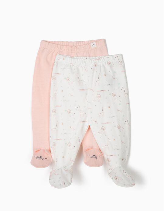 2 Pantalones con Pies para Recién Nacida 'Animals', Rosa y Blanco