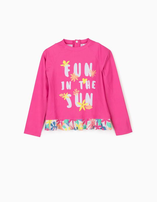 Bathing T-shirt for Girls, 'Anti-UV 80', Pink