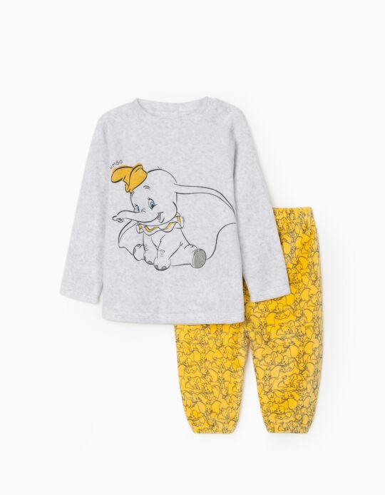 Pyjamas in Velour for Babies 'Dumbo', Grey/Yellow