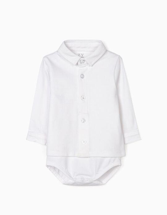 Polo Shirt Bodysuit for Newborn Baby Boys, White