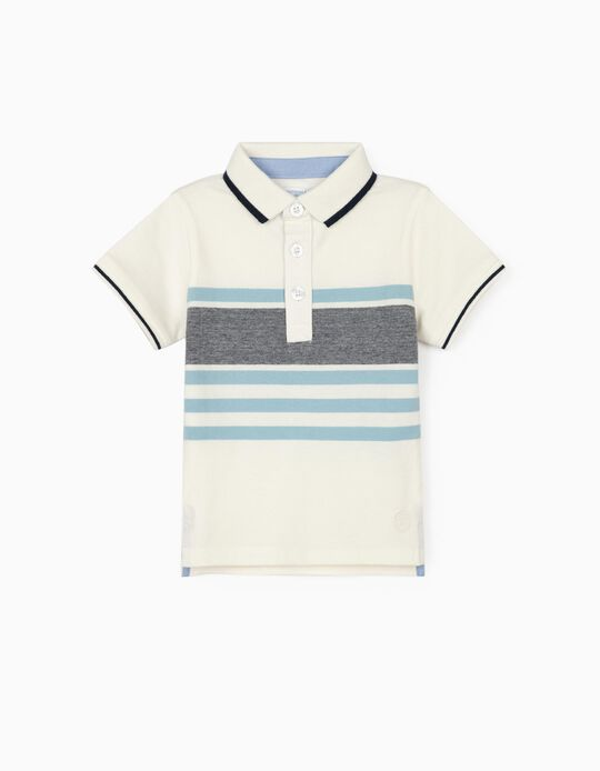 Striped Polo Shirt for Baby Boys, 'B&S', White/Blue