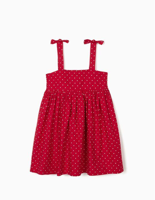 Vestido de Tirantes para Niña 'Lunares', Rojo Oscuro