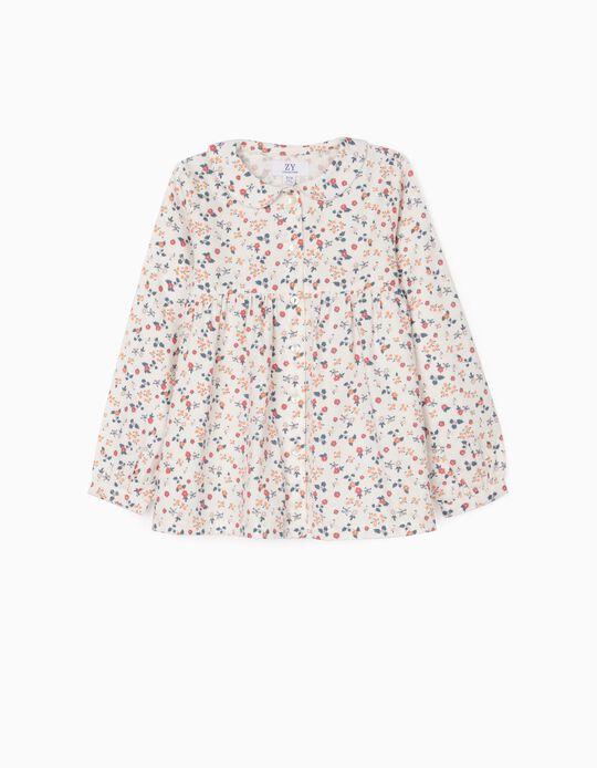 Camisa Floral para Niña, Blanco