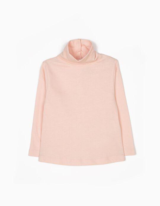 Camiseta de Manga Larga de Cuello Alto Rosa Claro