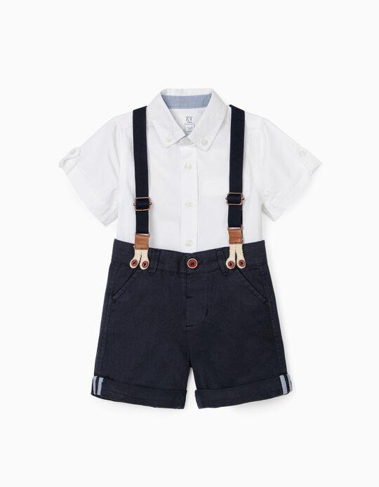 Camisa y Short con Tirantes para Bebé Niño, Blanco/Azul Oscuro
