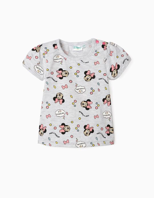 Camiseta para Bebé Niña 'Minnie Rainbows', Gris