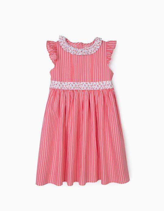 Vestido para Niña a Rayas y Flores, Rosa y Blanco