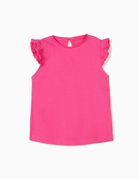 Camiseta para Bebé Niña con Volante, Rosa