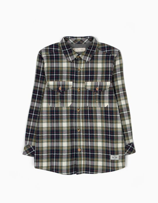 Camisa Ajedrez con Bolsillos Verde