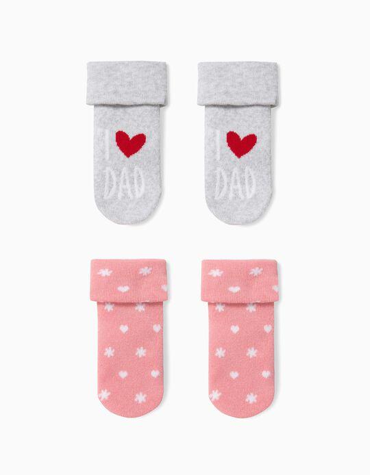 2 Pares de Meias para Bebé Menina 'Dad', Cinza/Rosa