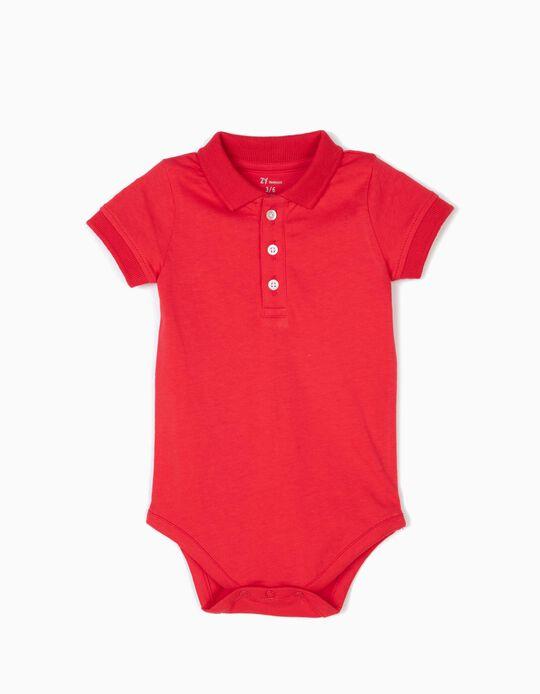 Body-Polo para Recém-Nascido, Vermelho