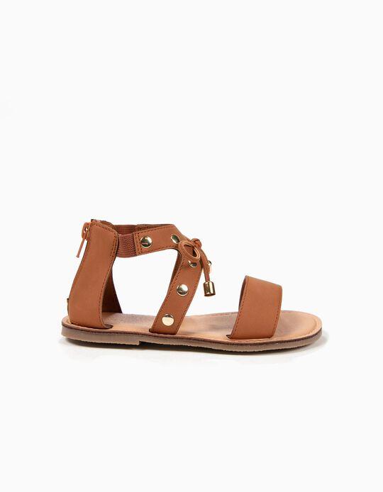 Sandálias para Menina com Tachas e Laço, Castanho