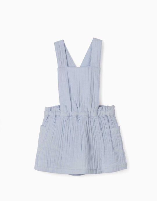 Textured Pinafore Dress for Newborn Baby Girls, Light Blue