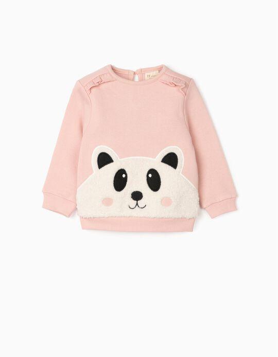 Jumper for Baby Girls 'Panda', Pink