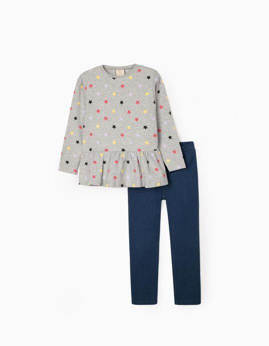 Sweatshirt + Leggings para Menina 'Stars', Cinza/Azul