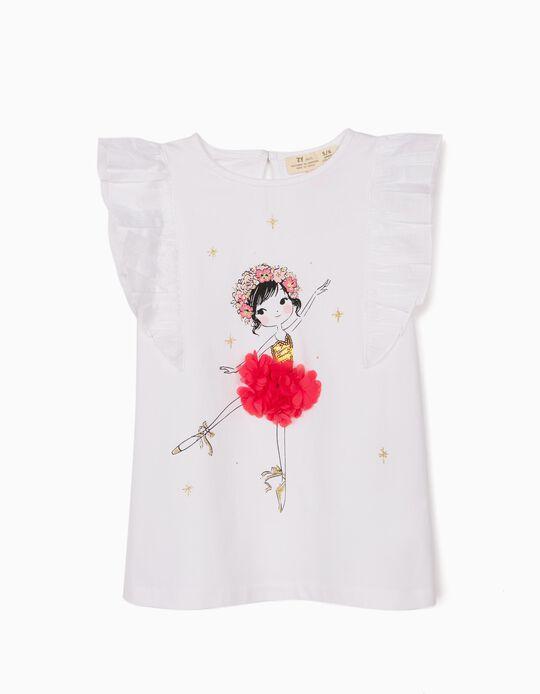T-shirt for Girls, 'Ballerina', White