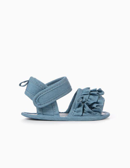 Sandálias para Recém-Nascida com Folhos, Azul