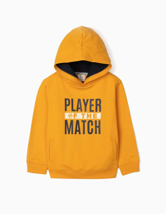 Hooded Sweatshirt for Boys, 'Player', Yellow